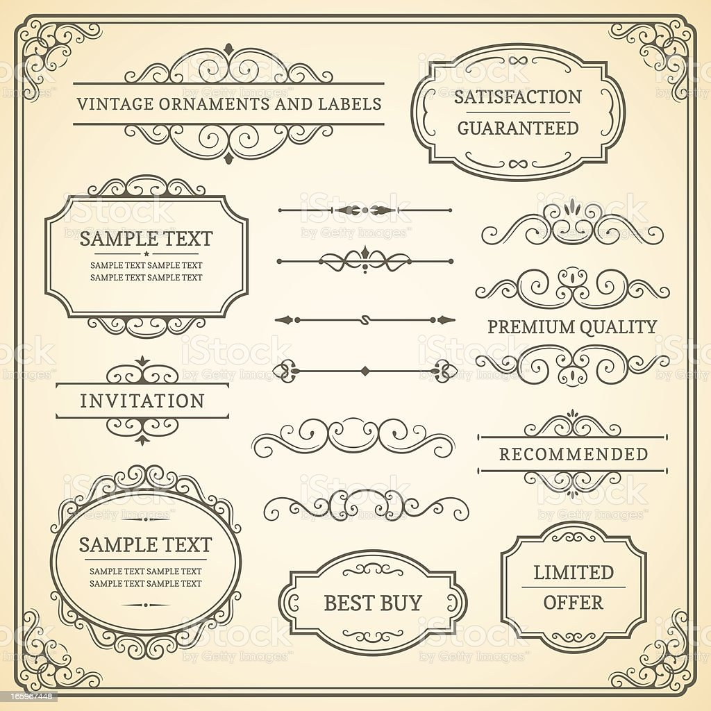 Vintage Ornaments and Labels vector art illustration