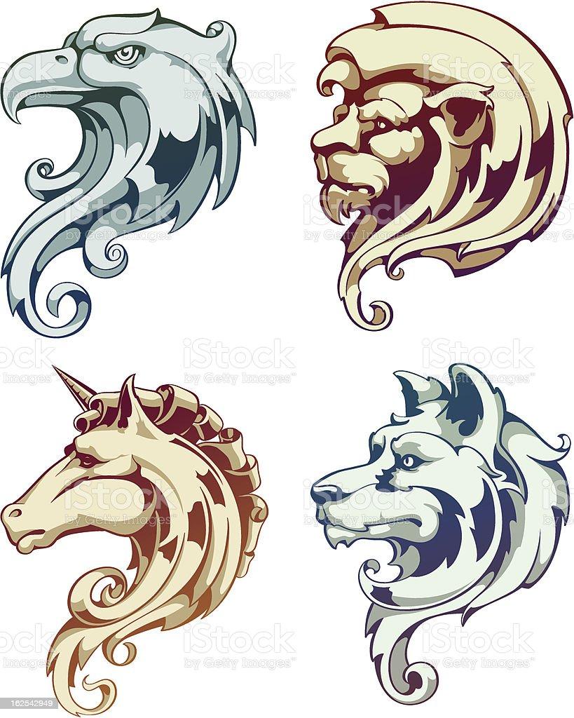 Vintage ornate animals royalty-free stock vector art