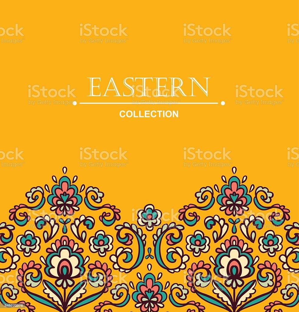 Vintage ornate card with Eastern floral elements.  Filigree vector border. vector art illustration