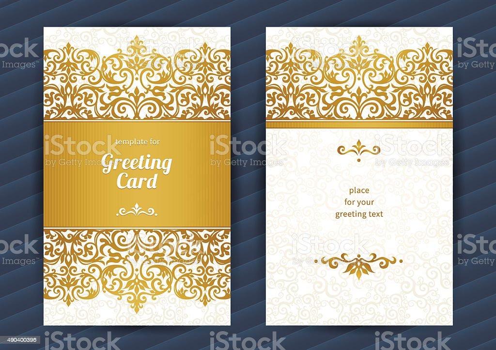 Vintage ornate cards in Eastern style. vector art illustration