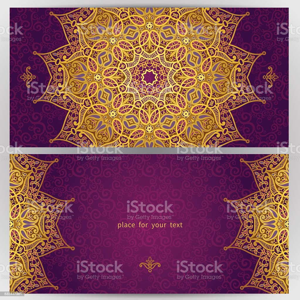 Vintage ornate cards in oriental style. vector art illustration