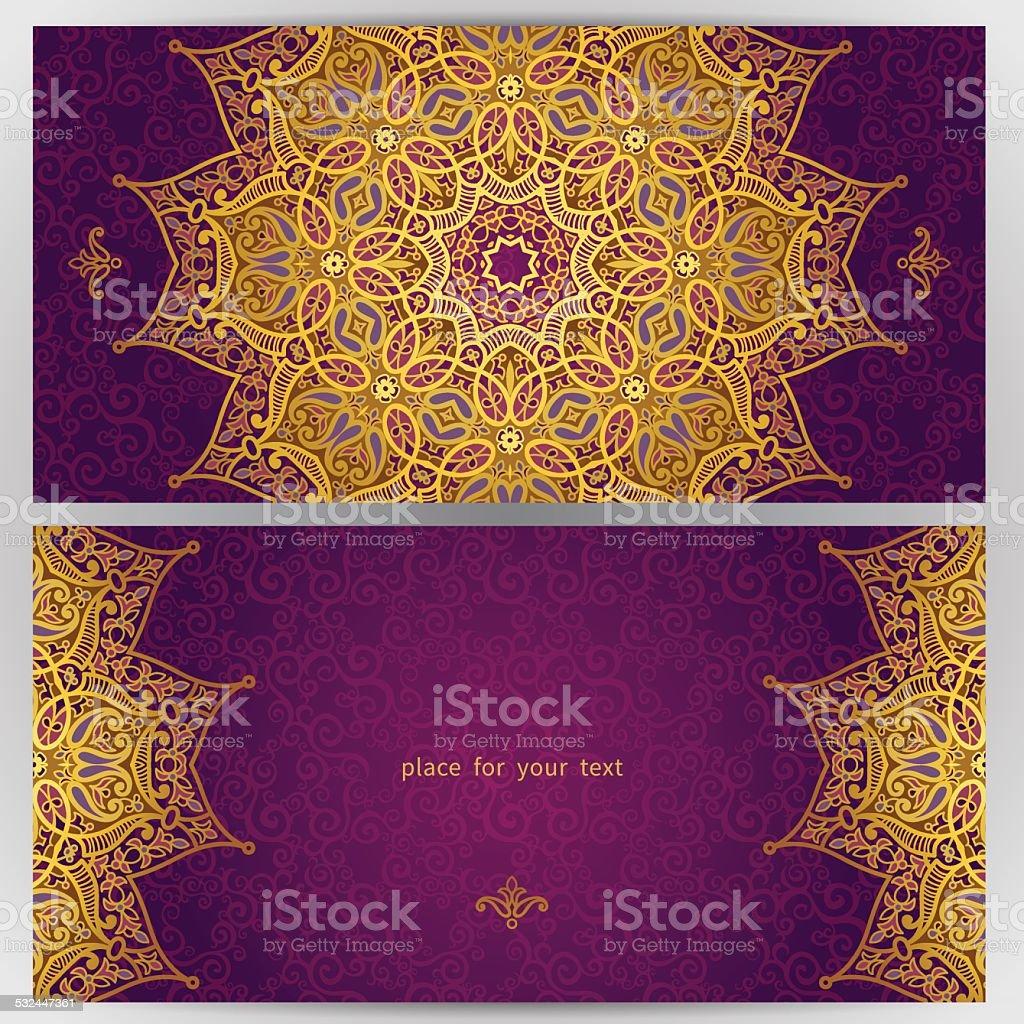 Vintage ornate cards in oriental style. vector art illustration