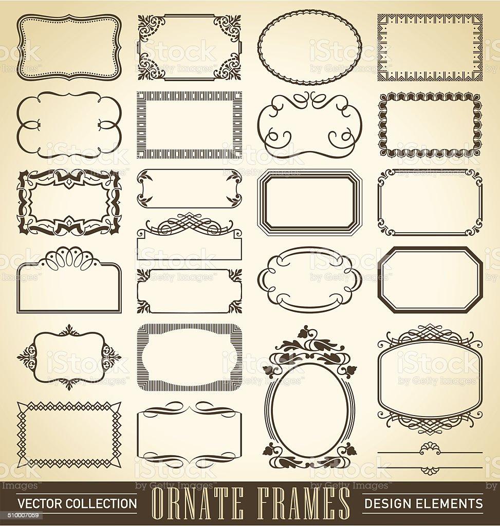 vintage ornate frames set (vector) vector art illustration