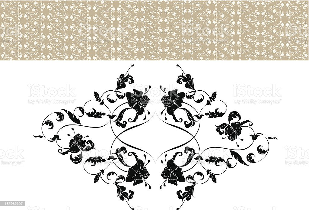 Vintage ornate seamless pattern in rococo style royalty-free stock vector art