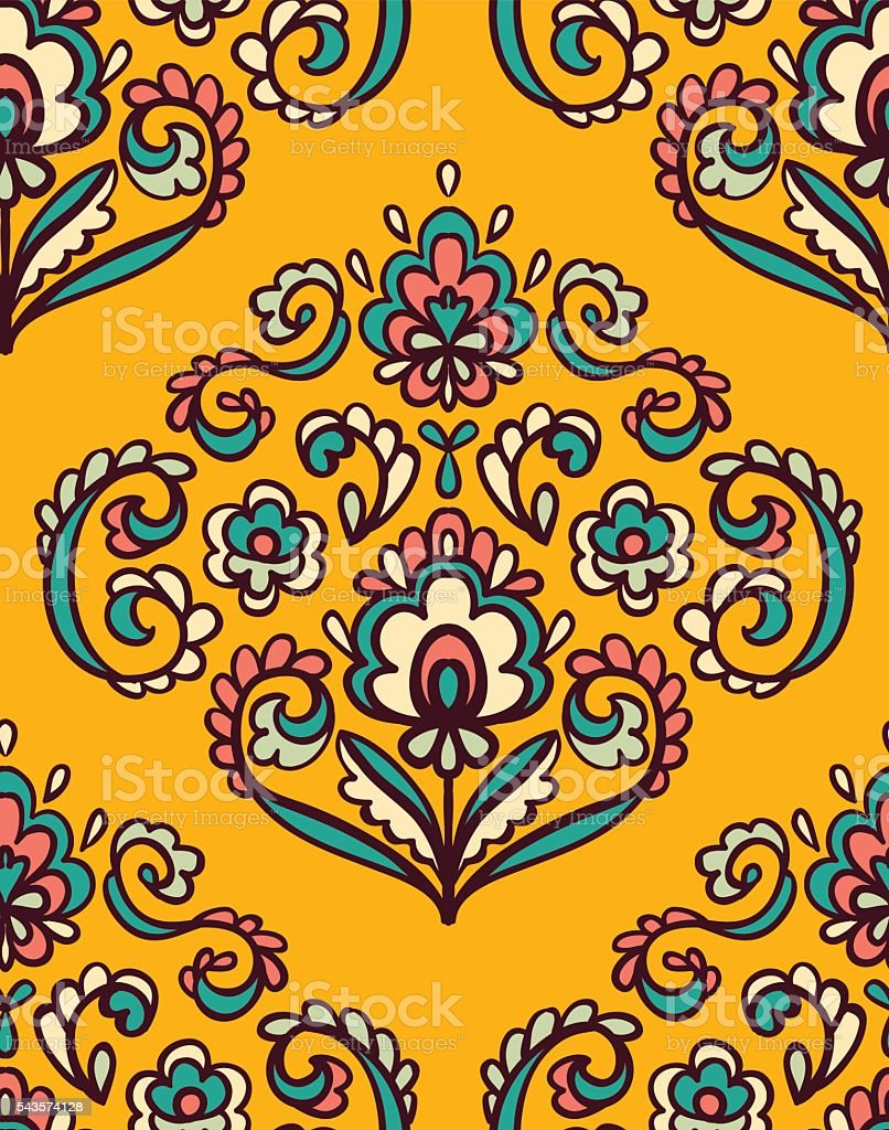 Vintage ornate seamless pattern with Eastern floral elements. vector art illustration