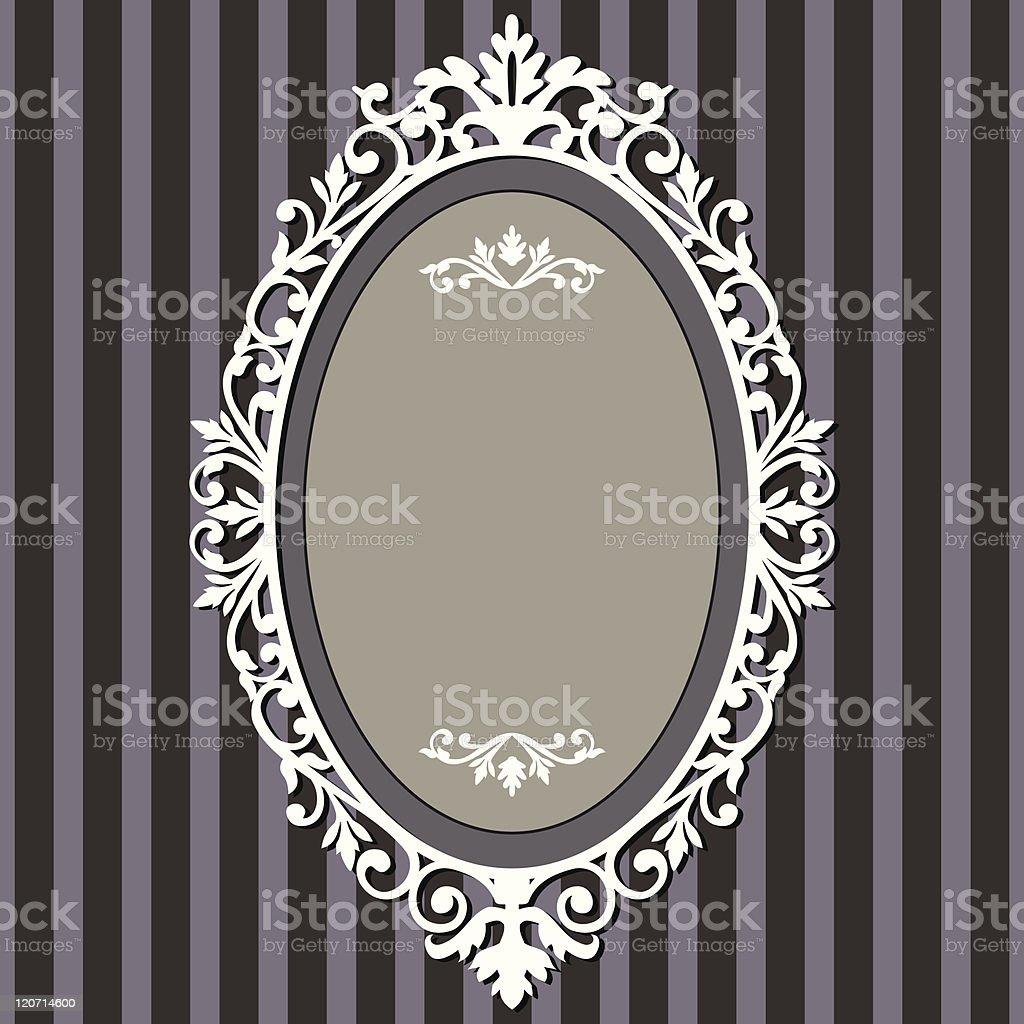Vintage oval mirror on a stripy blue background vector art illustration