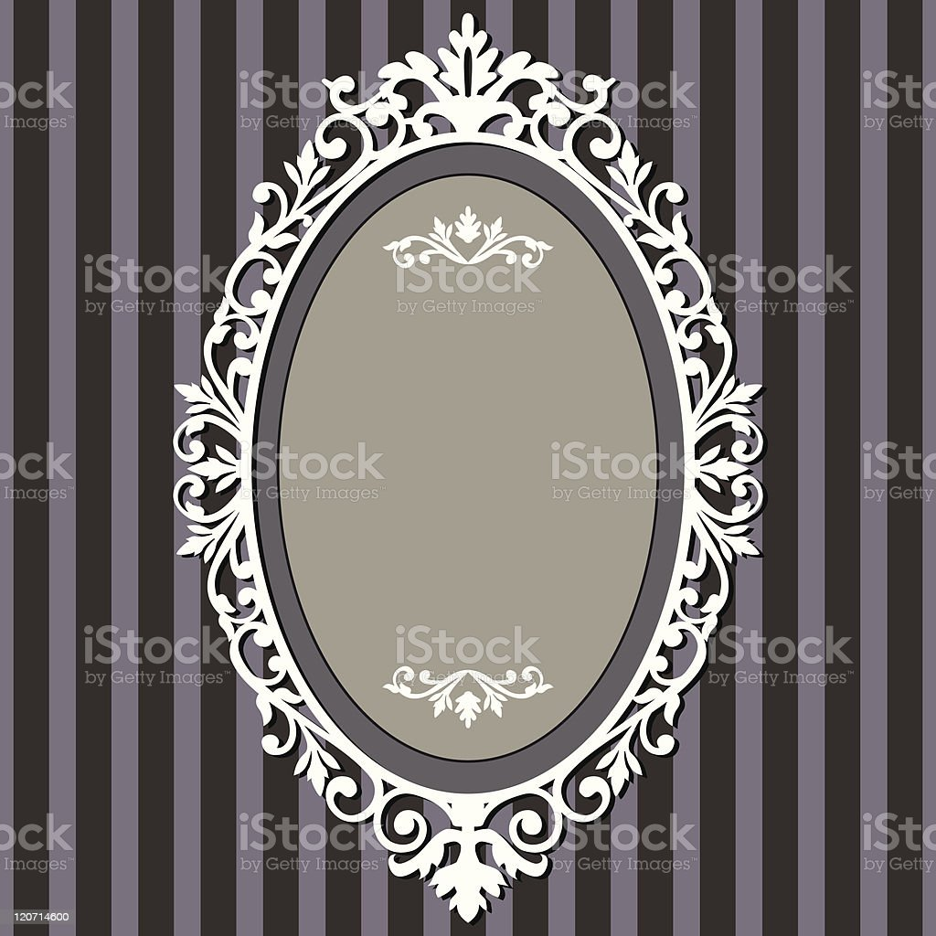 Vintage oval mirror on a stripy blue background vector art illustration