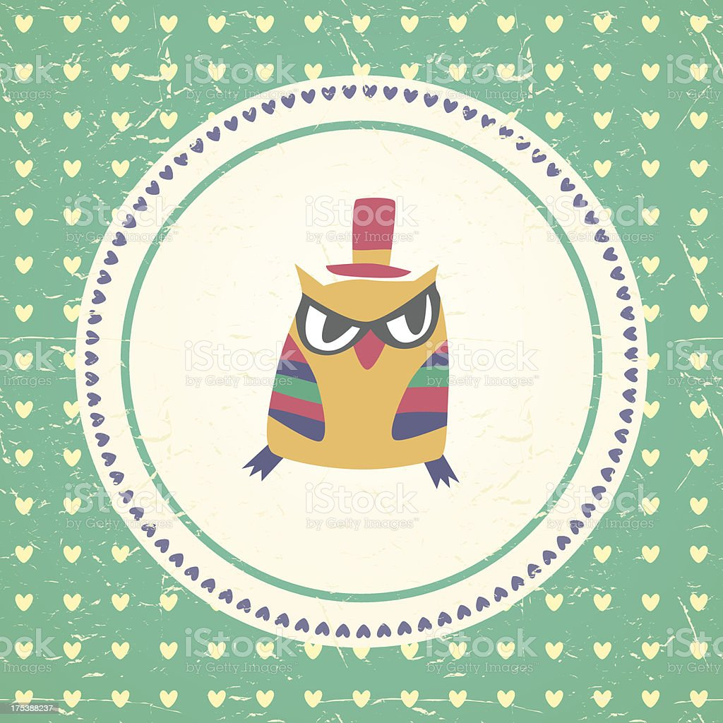 Vintage owls greeting card and hearts seamless background. royalty-free stock vector art