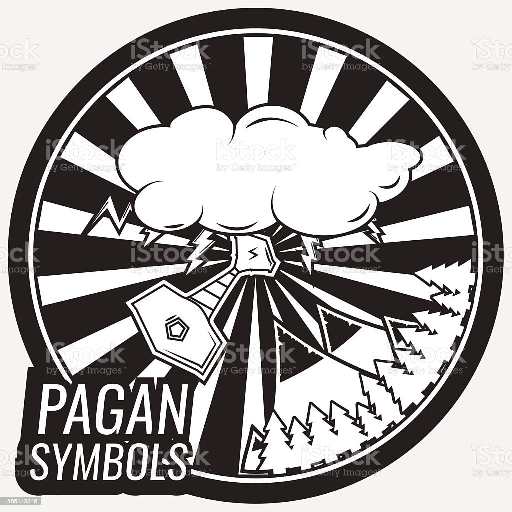 Vintage pagan poster. vector art illustration