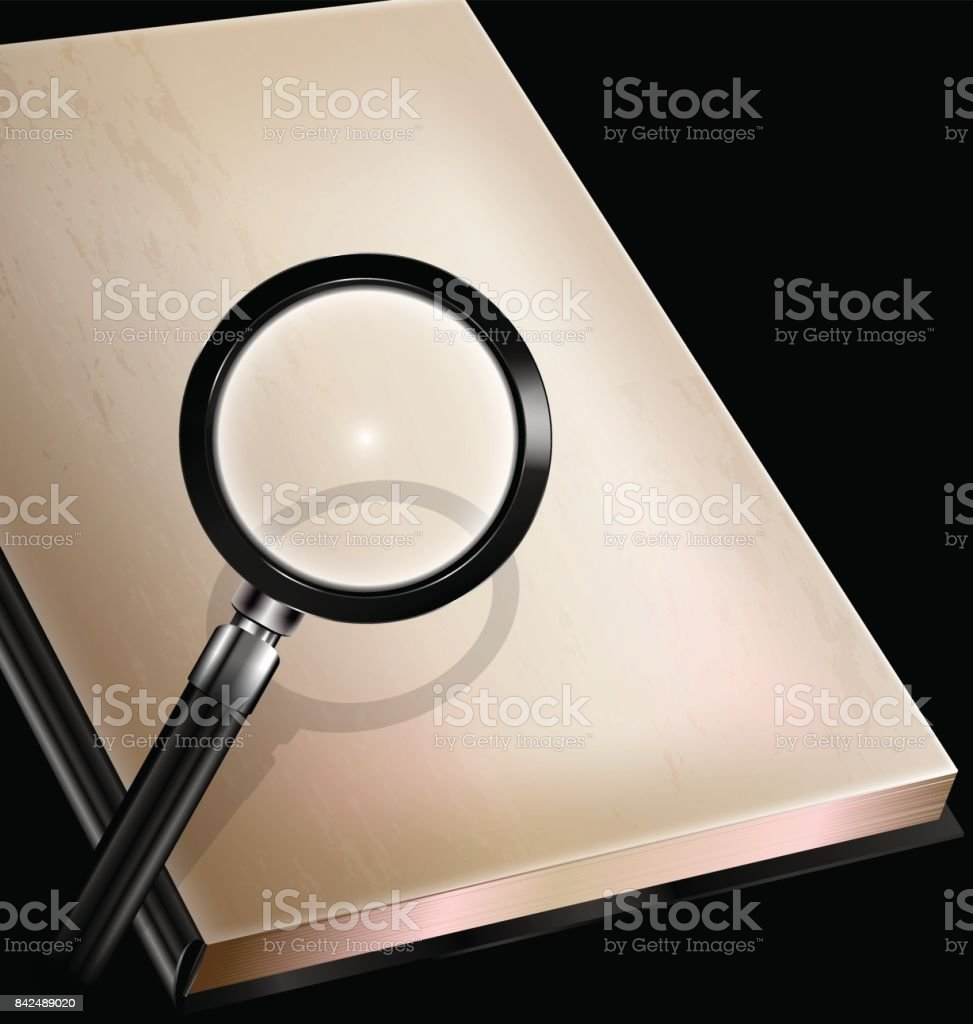 vintage page of book and magnifier vector art illustration