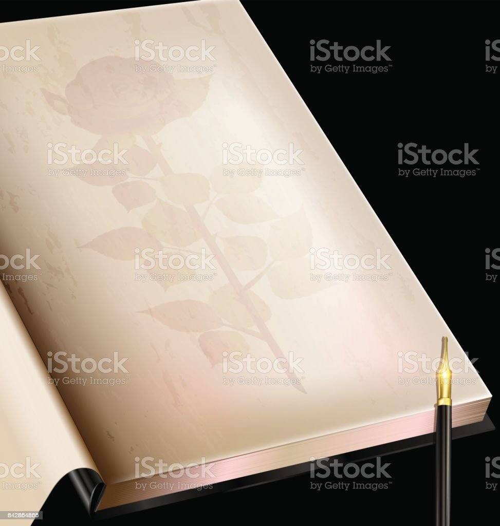 vintage page of book and pen vector art illustration