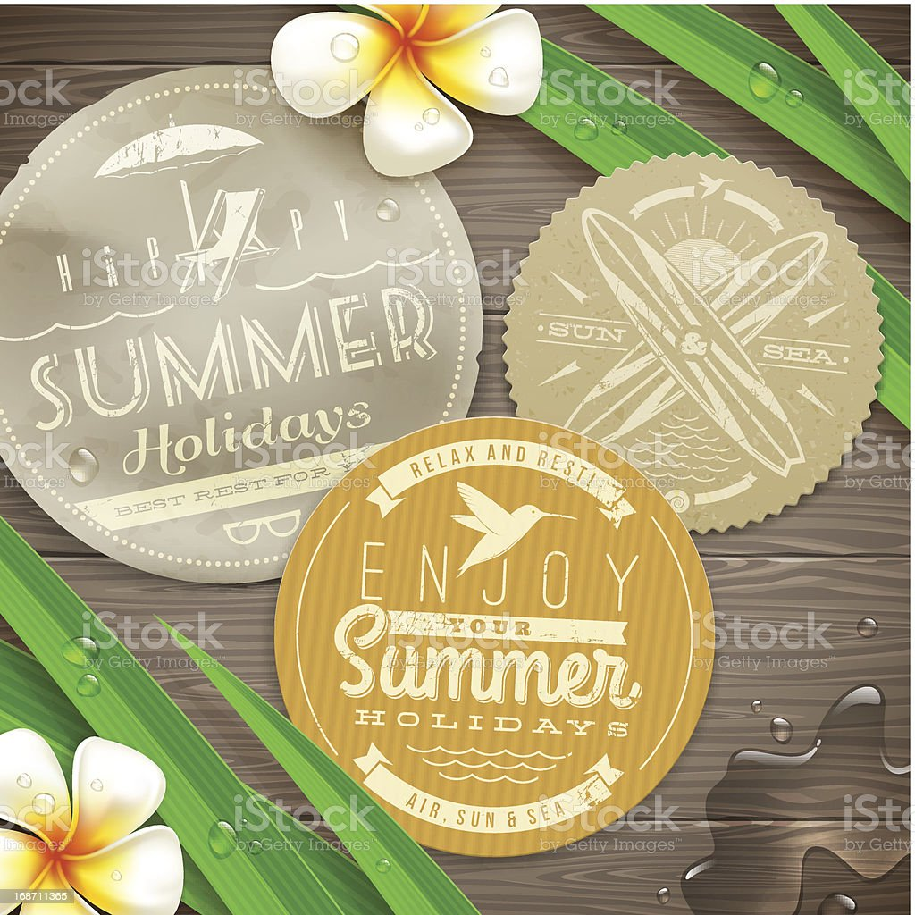 Vintage paper labels with vacation and travel emblems royalty-free stock vector art