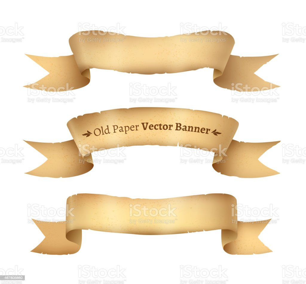 Vintage paper ribbon banners vector art illustration
