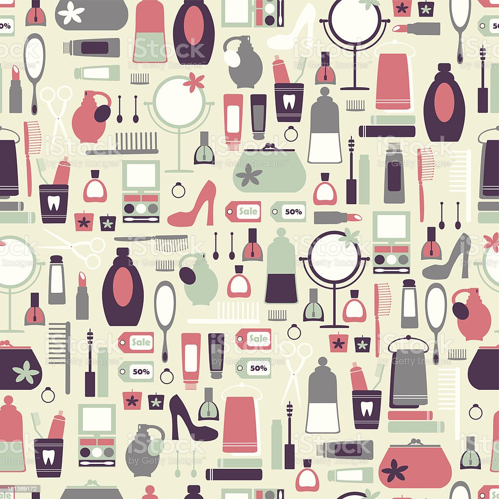 Vintage pattern with cosmetic icons. vector art illustration