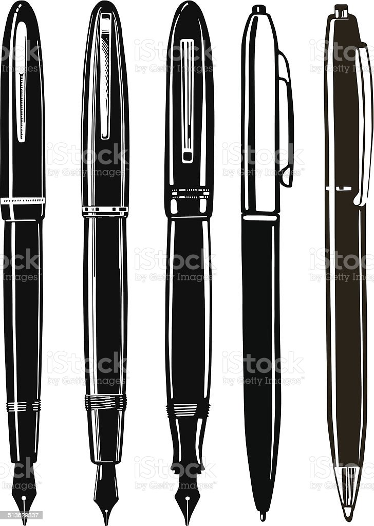 vintage Pens collection vector art illustration