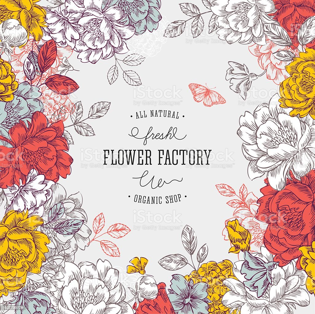 Vintage peony flower background. Flower design template. Vector illustration vector art illustration