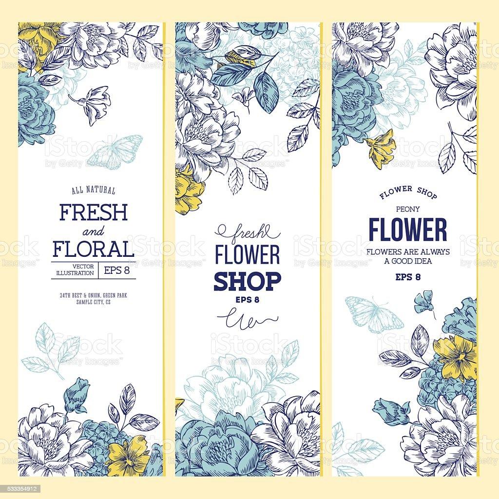 Vintage peony flower banner collection. Linear graphic floral banner set. vector art illustration