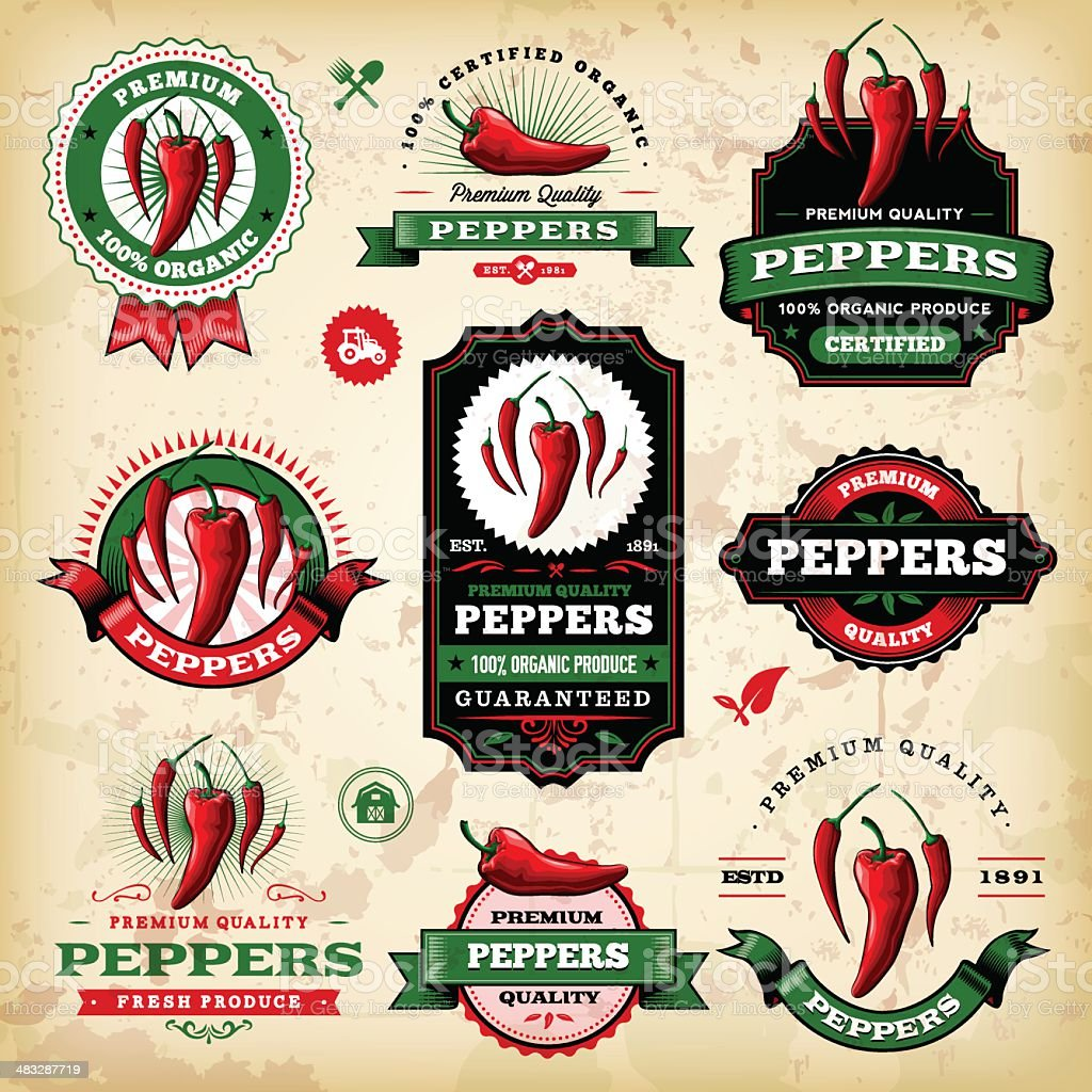 Vintage Peppers Labels vector art illustration