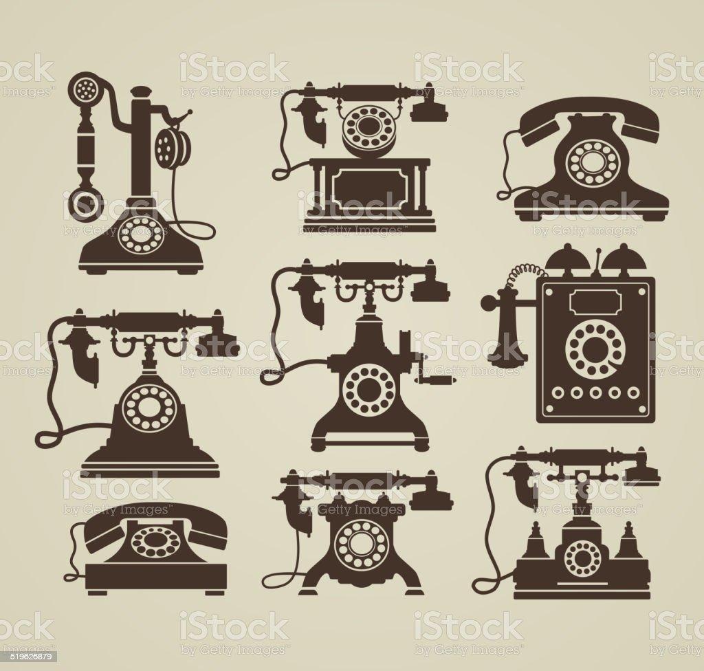 vintage phones vector art illustration