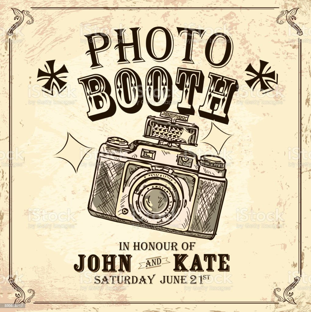 Vintage Photo booth design template on rough background vector art illustration