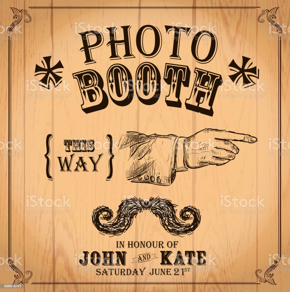 Vintage Photo booth design template pointing hand and mustache vector art illustration