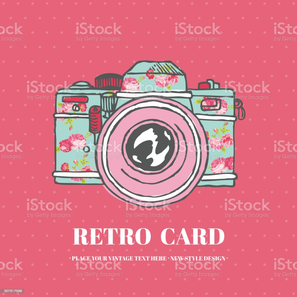 Vintage Photo Camera with Flowers - hand-drawn vector art illustration