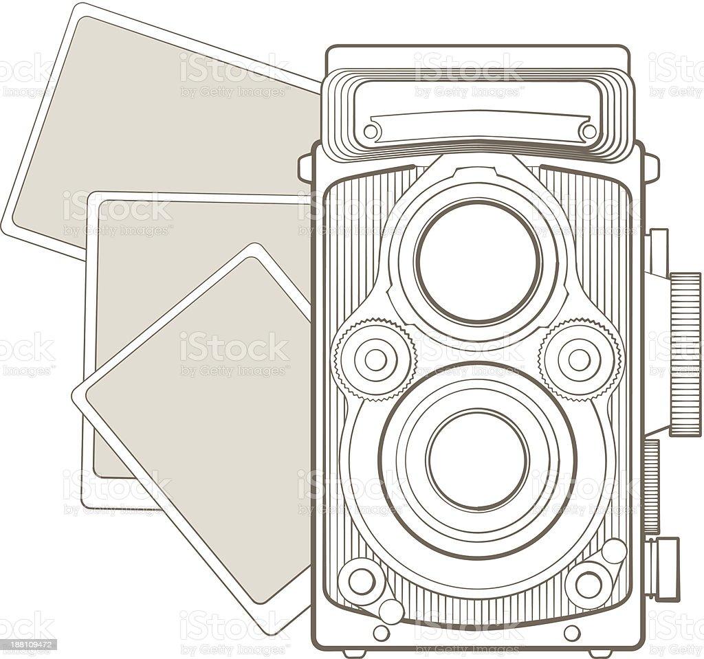 Foto Vintage câmera com figura vetor e ilustração royalty-free royalty-free