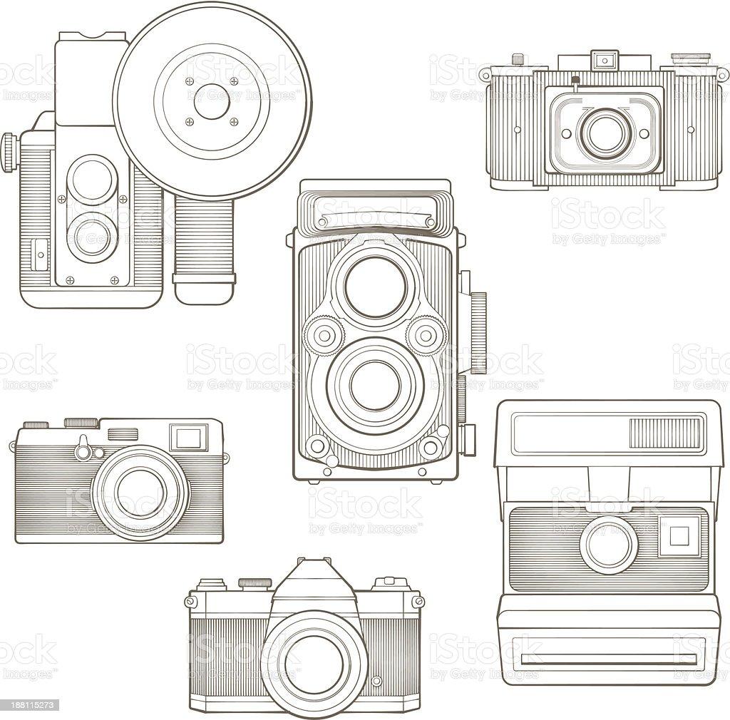 Foto Vintage de câmeras conjunto. Ilustração vetorial. vetor e ilustração royalty-free royalty-free