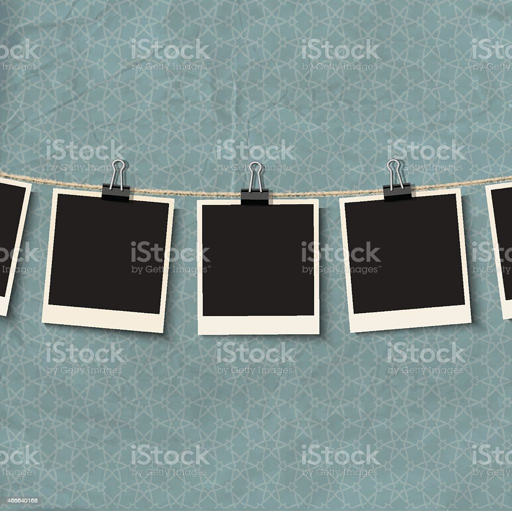 Vintage Photo Frames on rope vector art illustration