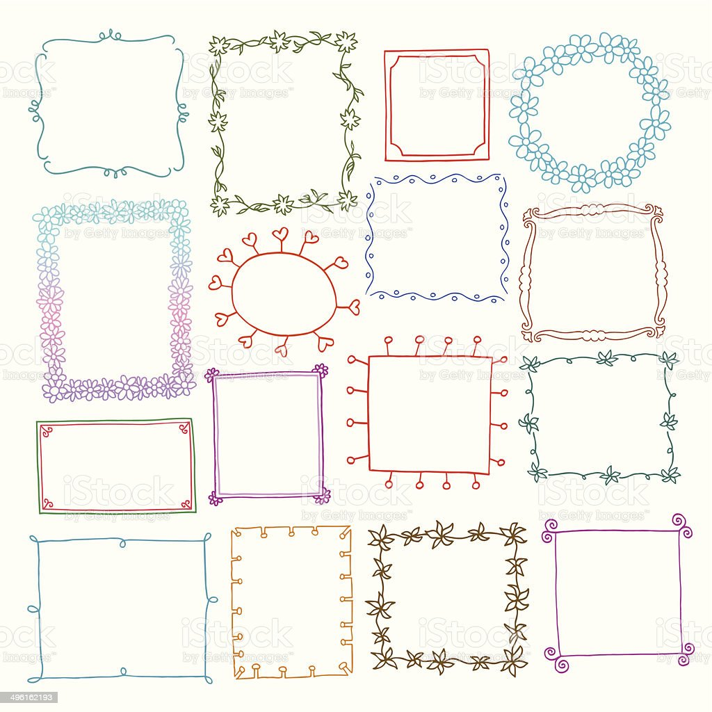 Vintage photo frames set, doodle style vector art illustration