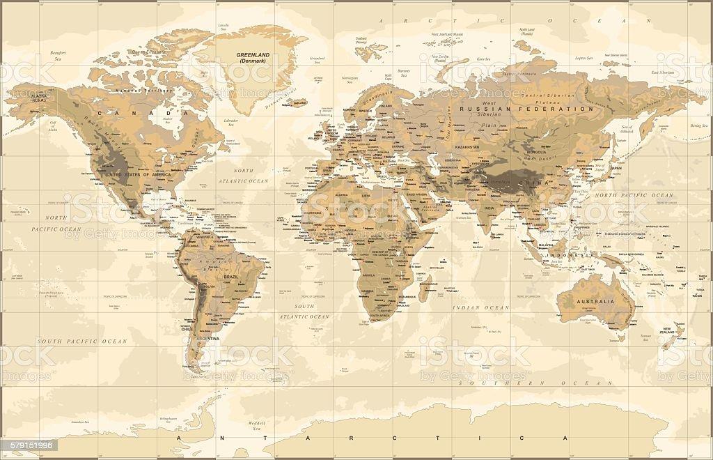 Vintage Physical World Map vector art illustration