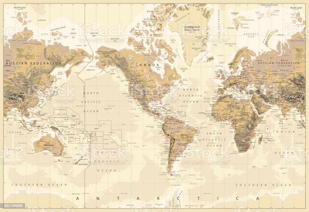 World wall map beautiful world wall map fao fishing areas america vintage physical world map america centered colors of brown royalty free stock vector gumiabroncs Gallery