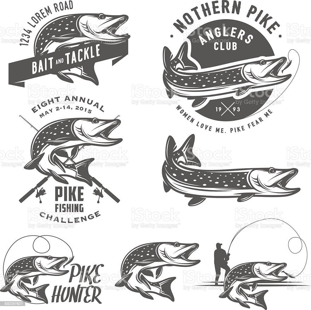 Vintage pike fishing emblems, labels and design elements vector art illustration
