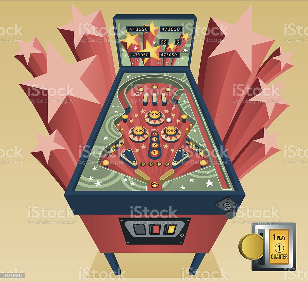 Vintage Pinball Machine vector art illustration
