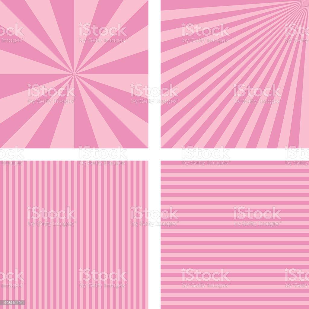 Vintage pink simple striped background set vector art illustration