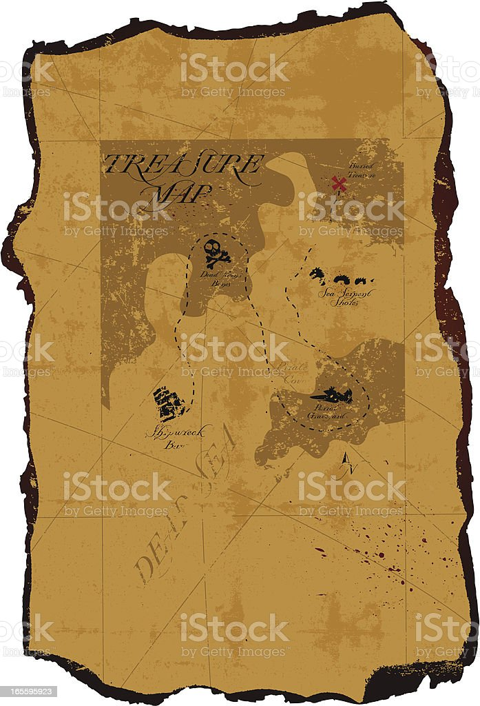 Vintage Pirate Treasure Map royalty-free stock vector art