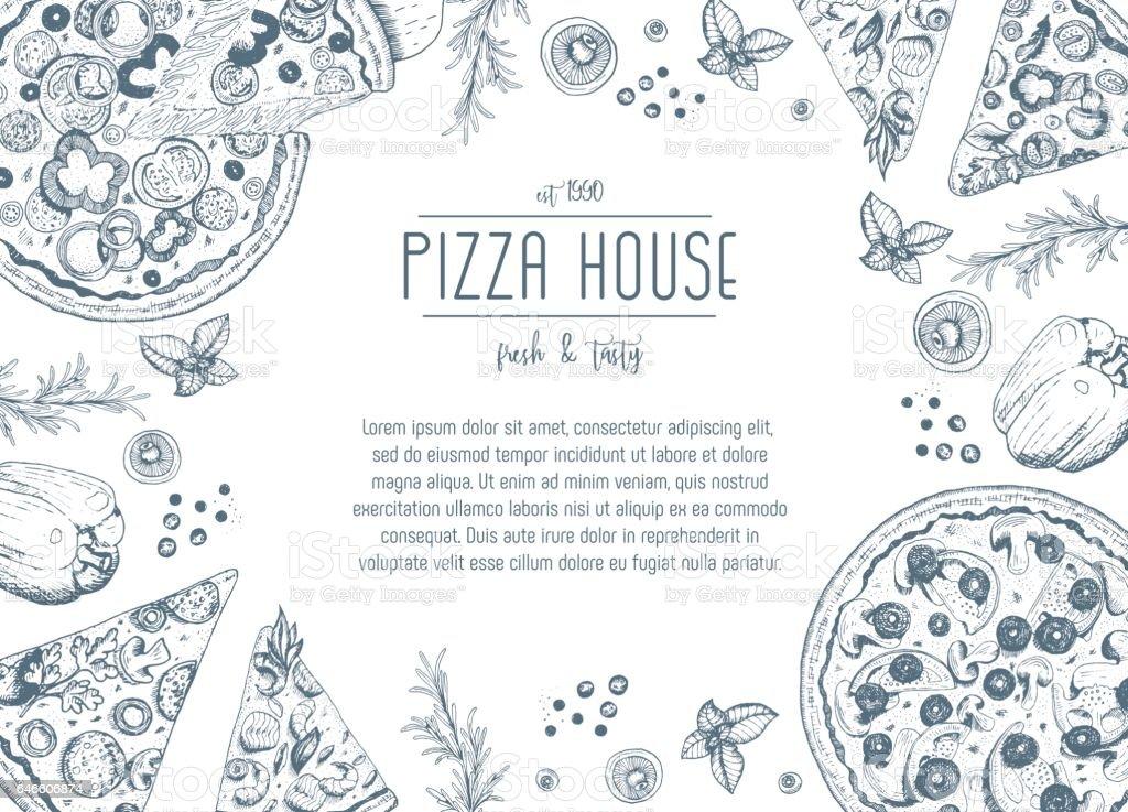 Vintage pizza frame vector illustration. vector art illustration