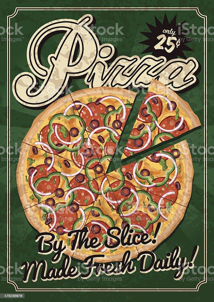 Vintage Pizza Poster vector art illustration