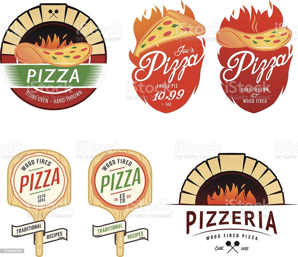 Vintage pizzeria labels, badges and design elements vector art illustration