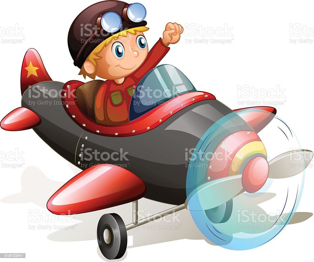 Vintage plane with a young pilot vector art illustration