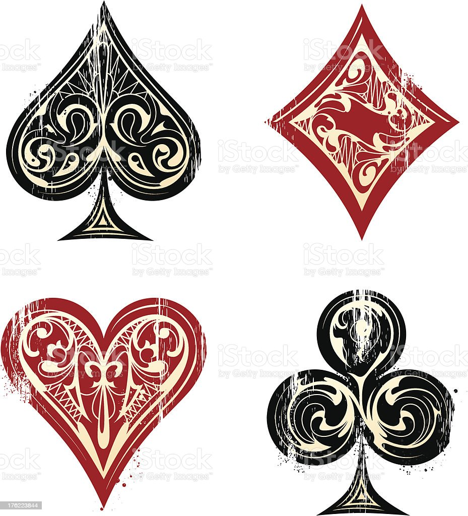 Vintage Playing Cards Sybmols vector art illustration