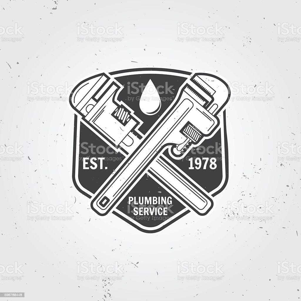 Vintage plumbing service badge, banner or logo emblem. vector art illustration
