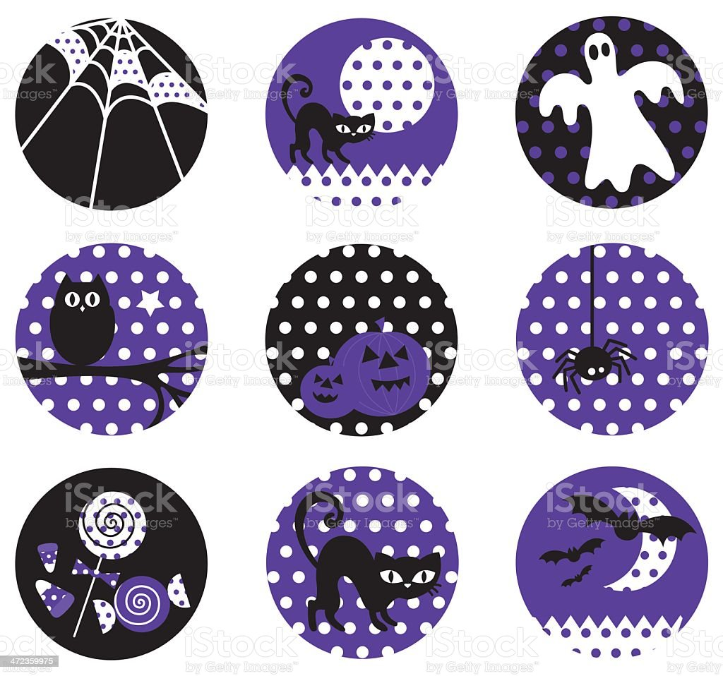 Vintage Polka Dot Halloween Icon Set royalty-free stock vector art