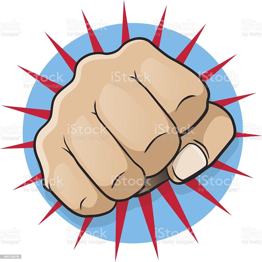 Vintage Pop Art Punching Fist vector art illustration