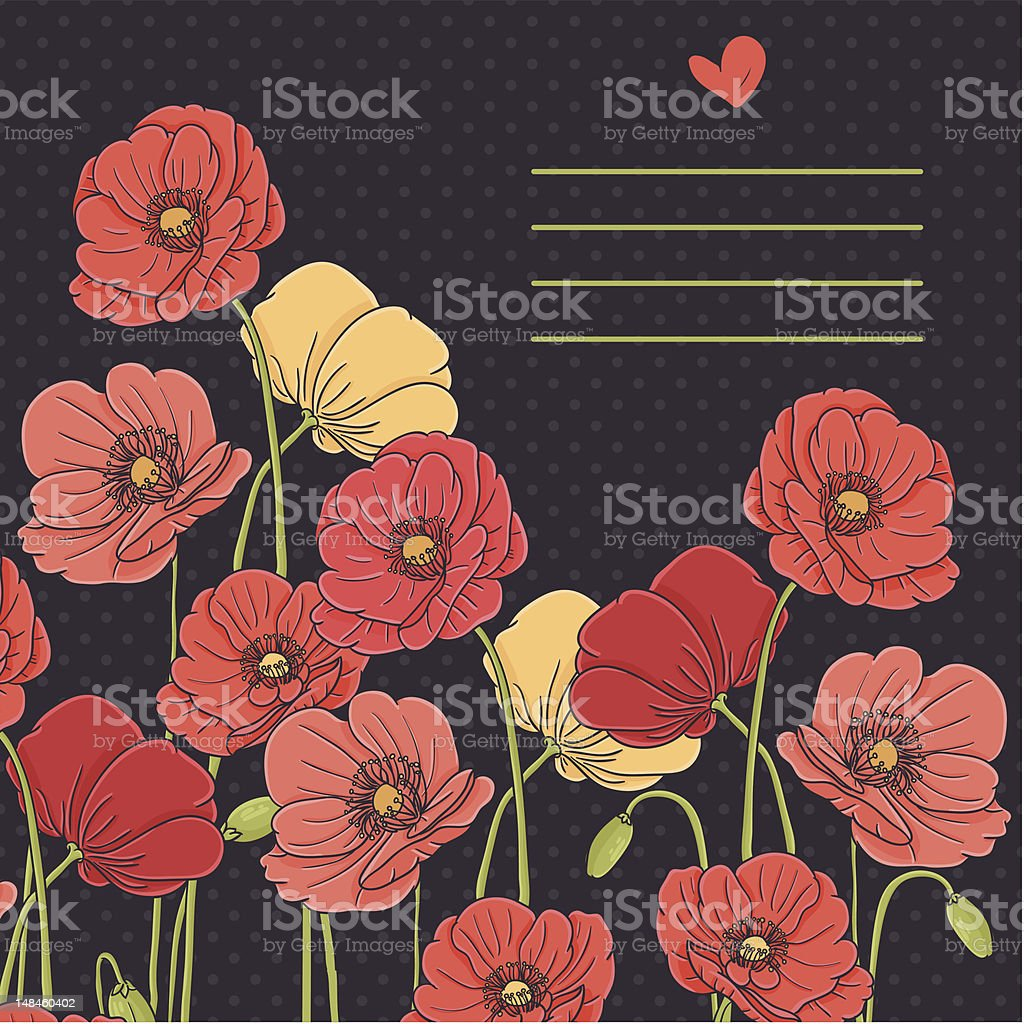 Vintage poppy card on black background vector art illustration