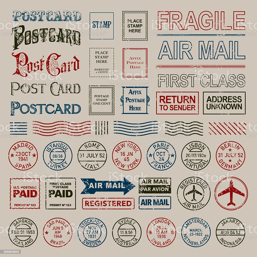 Vintage Postage and Postmark Stamps Set vector art illustration