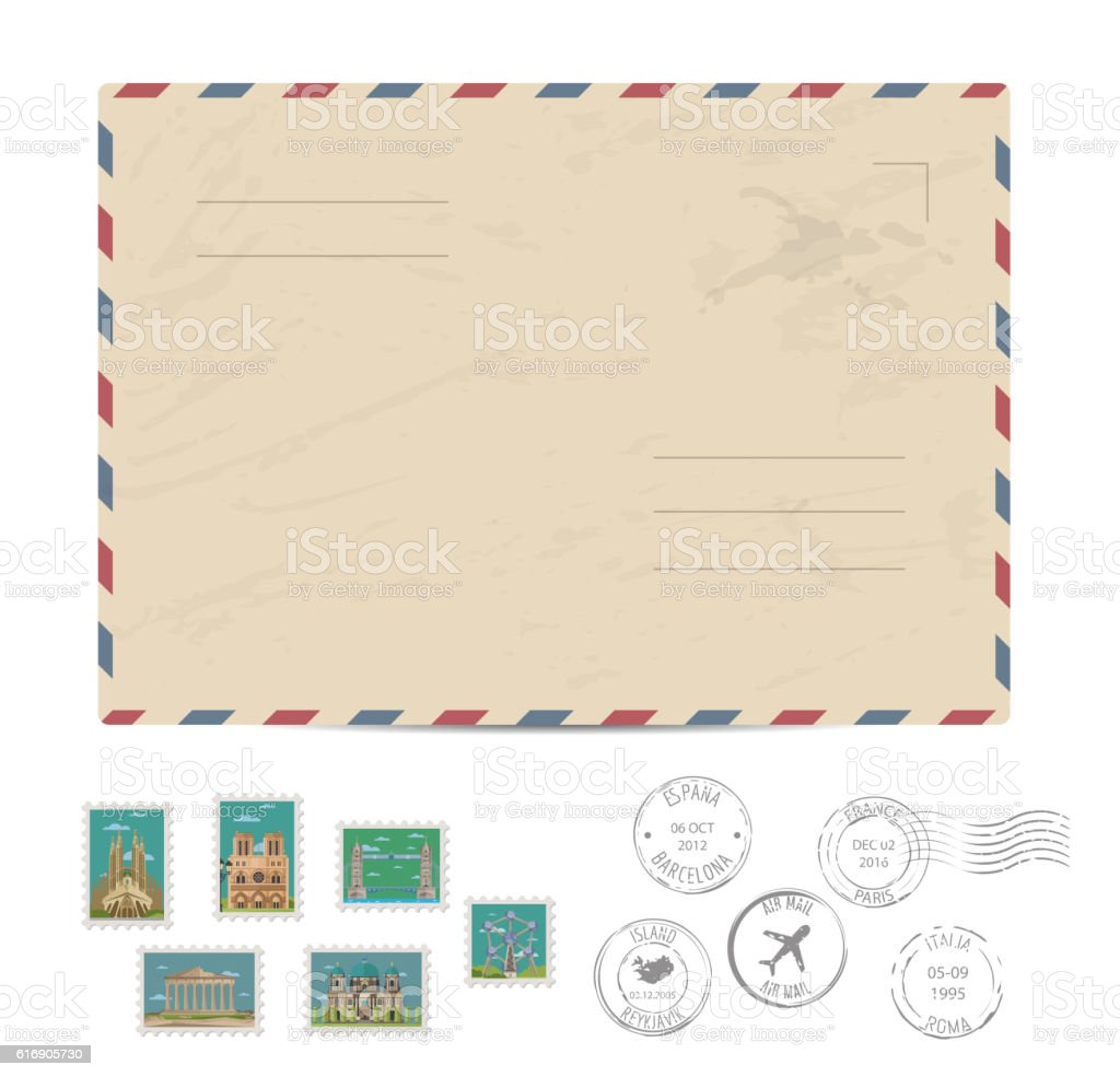 Vintage postal envelope with stamps vector art illustration