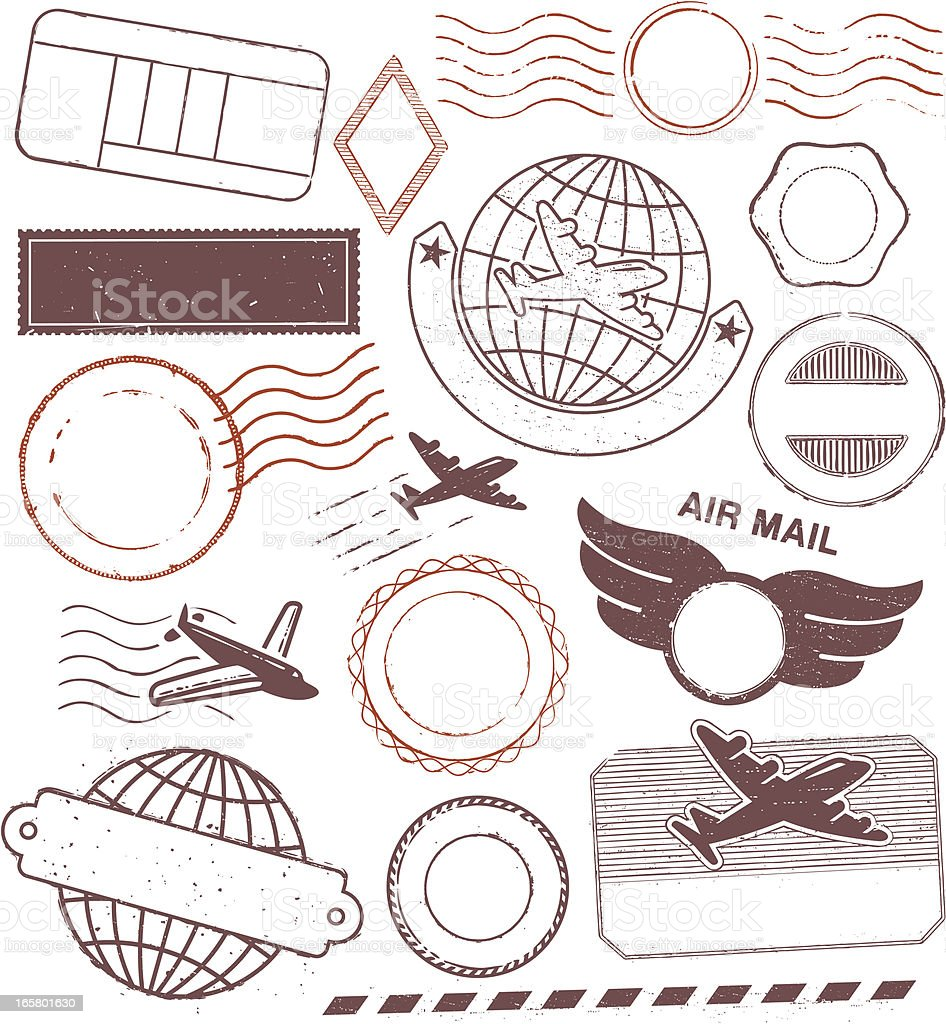 Vintage Postal Rubber Stamps and Seals royalty-free stock vector art