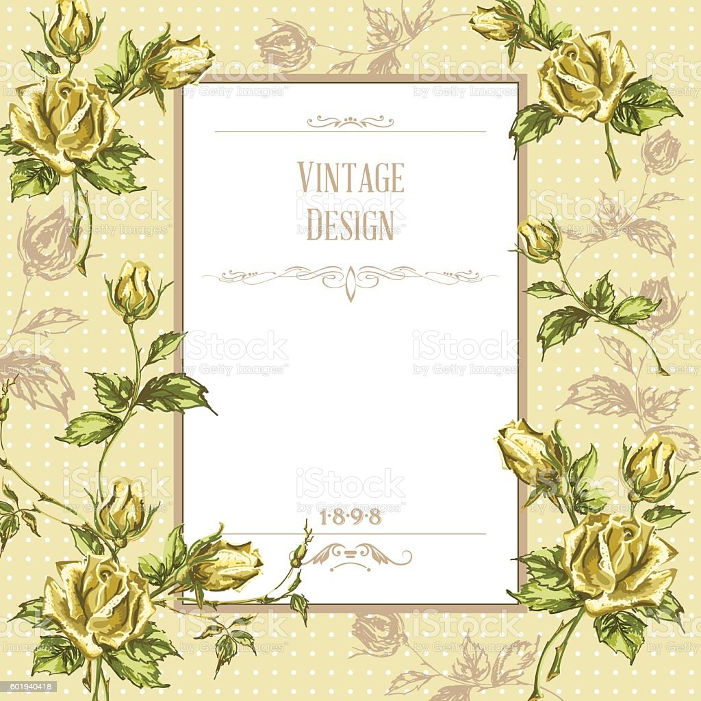 vintage postcard with roses vector art illustration