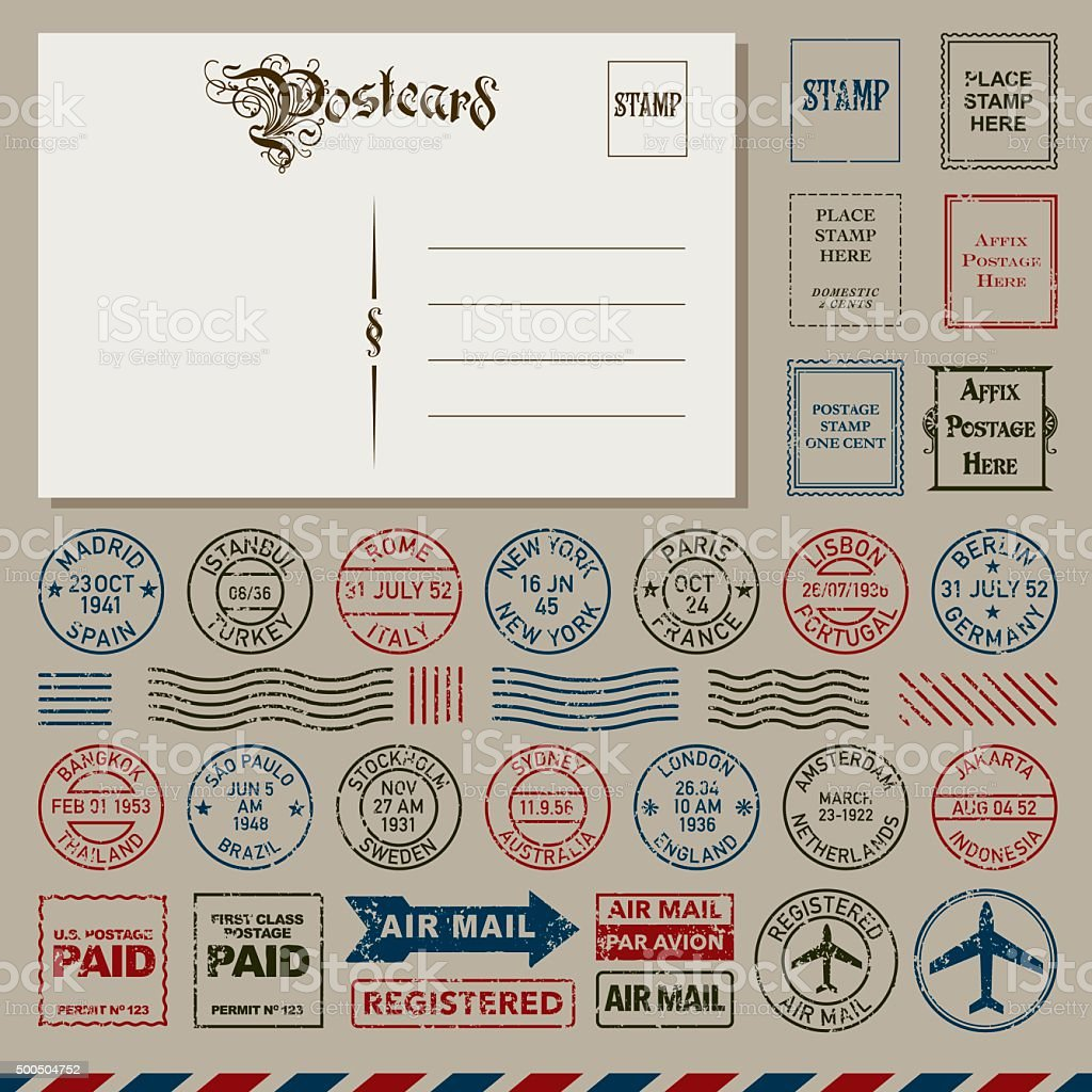 Vintage Postcards and Postmark Stamps Set vector art illustration